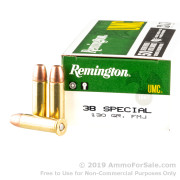 500 Rounds of 130gr MC .38 Spl Ammo by Remington