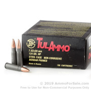 100 Rounds of 124gr HP 7.62x39mm Ammo by Tula