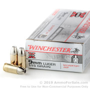 50 Rounds of 115gr JHP 9mm Ammo by Winchester Silvertip