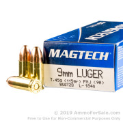 50 Rounds of 115gr FMC 9mm Ammo by Magtech