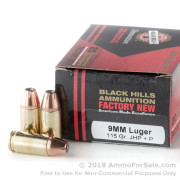 20 Rounds of 115gr +P JHP 9mm Luger Ammo by Black Hills Ammunition