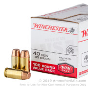 100 Rounds of 165gr FMJ .40 S&W Ammo by Winchester