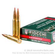 20 Rounds of 180gr JHP 30-06 Springfield Ammo by Fiocchi