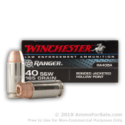 50 Rounds of 165gr JHP Bonded .40 S&W Ammo by Winchester Ranger