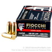 500 Rounds of 180gr JHP 10mm Ammo by Fiocchi