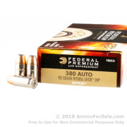 50 Rounds of 90gr JHP .380 ACP Ammo by Federal