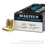 50 Rounds of 180gr JHP .40 S&W Ammo by Magtech