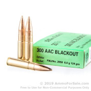 20 Rounds of 124gr FMJ .300 AAC Blackout Ammo by Sellier & Bellot