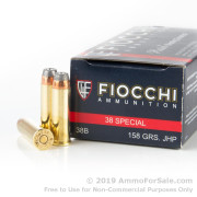 1000 Rounds of 158  Grain JHP .38 Spl Ammo by Fiocchi