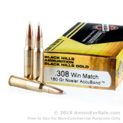 20 Rounds of 180gr Polymer Tipped .308 Win Ammo by Black Hills Gold Ammunition