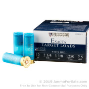 """250 Rounds of 2-3/4"""" 1 1/8 ounce #7 1/2 shot 12ga Ammo by Fiocchi White Rino"""
