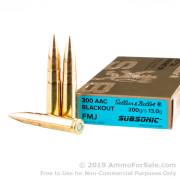 20 Rounds of 200gr FMJ .300 AAC Blackout Subsonic Ammo by Sellier & Bellot