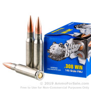 20 Rounds of 145gr FMJ .308 Win Ammo by Silver Bear