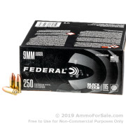 250 Rounds of 115gr FMJ 9mm Ammo by Federal