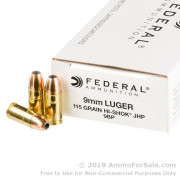 1000 Rounds of 115gr JHP 9mm Ammo by Federal