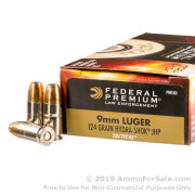 1000 Rounds of 124gr JHP 9mm Ammo by Federal