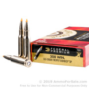 20 Rounds of 165gr Trophy Bonded Tip .308 Win Ammo by Federal