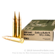 20 Rounds of 147gr FMJ .300 AAC Blackout Ammo by Sellier & Bellot