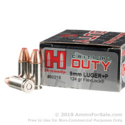 25 Rounds of 124gr JHP 9mm + P Ammo by Hornady
