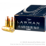 50 Rounds of 230gr TMJ .45 ACP Ammo by Speer Lawman Cleanfire