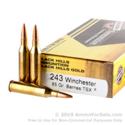 20 Rounds of 85gr TSX .243 Win Ammo by Black Hills Gold Ammunition