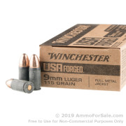 50 Rounds of 115gr FMJ 9mm Ammo by Winchester