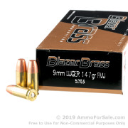 1000 Rounds of 147gr FMJ 9mm Ammo by Blazer Brass