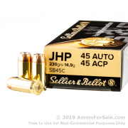 1000 Rounds of 230gr JHP 45 ACP Ammo by Sellier & Bellot