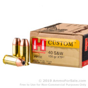 200 Rounds of 155gr JHP .40 S&W Ammo by Hornady