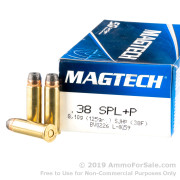 50 Rounds of 125gr +P SJHP .38 Spl Ammo by Magtech