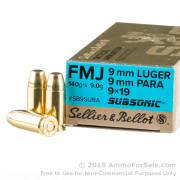 1000 Rounds of Subsonic 140gr FMJ 9mm Ammo by Sellier & Bellot