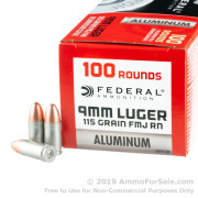 100 Rounds of 115gr FMJ RN 9mm Ammo by Federal