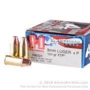 25 Rounds of 124gr JHP 9mm +P Ammo by Hornady