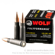 20 Rounds of 123gr HP 7.62x39mm Ammo by Wolf Polyformance