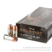 50 Rounds of +P 200gr JHP .45 ACP Ammo by Speer Gold Dot