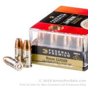 20 Rounds of 135gr JHP 9mm Ammo by Federal