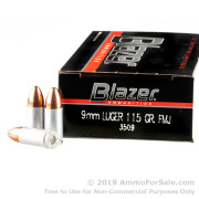 50 Rounds of 115gr FMJ 9mm Ammo by CCI