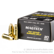 20 Rounds of 124gr JHP 9mm Ammo by Magtech Guardian Gold
