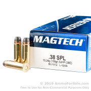 50 Rounds of 158gr SJHP .38 Spl Ammo by Magtech