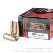20 Rounds of 115gr HP 9mm Ammo by Black Hills Ammunition