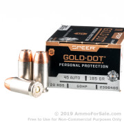 20 Rounds of 185gr JHP .45 ACP Ammo by Speer