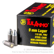 100 Rounds of 115gr FMJ 9mm Ammo by Tula