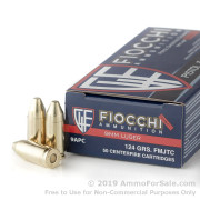 50 Rounds of 124gr FMJ 9mm Ammo by Fiocchi