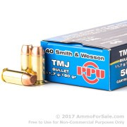 50 Rounds of 180gr TMJ .40 S&W Ammo by Prvi Partizan
