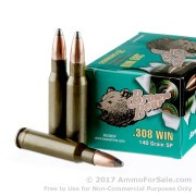 20 Rounds of 140gr SP .308 Win Ammo by Brown Bear