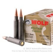 500  Rounds of 62gr FMJ .223 Ammo by Wolf