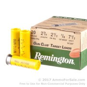 "25 Rounds of 2-3/4"" 7/8 ounce #7 1/2 shot 20ga Ammo by Remington Gun Club Target Load"