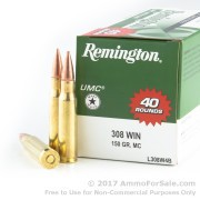 40 Rounds of 150gr MC .308 Win Ammo by Remington