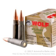 20 Rounds of 124gr FMJ 7.62x39mm Ammo by Wolf Mil Classic WPA