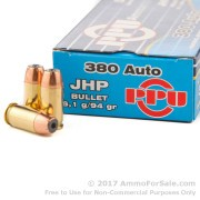 1000 Rounds of 94gr JHP .380 ACP Ammo by Prvi Partizan